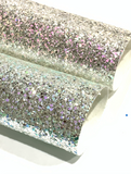 Silver Pastel Charm Hexagonal Chunky Glitter Canvas