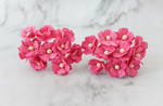 10 Pcs Mulberry Paper Flowers  1-2cm Cherry Blossoms - Hot Pink