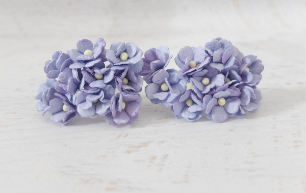 10 Pcs Mulberry Paper Flowers  1-2cm Cherry Blossoms - Lavender