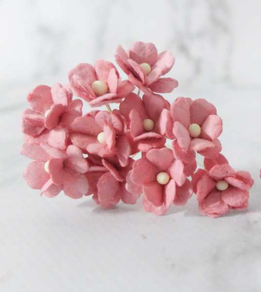 10 Pcs Mulberry Paper Flowers  1-2cm Cherry Blossoms - Raspberry Pink