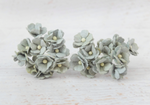 10 Pcs Mulberry Paper Flowers  1-2cm Cherry Blossoms - Sage Green