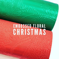 Floral Embossed Christmas Leatherettes | A4 size