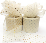 "Ivory with Glitter Dot Tulle 2.36"" 6cm x 25 Yard Roll"