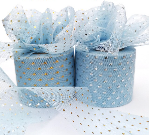 "Sky Blue with Glitter Dot Tulle 2.36"" 6cm x 25 Yard Roll"