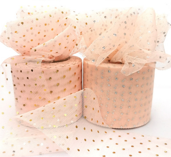 "Blush with Glitter Dot Tulle 2.36"" 6cm x 25 Yard Roll"