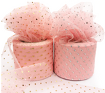 "Strawberry Pink with Glitter Dot Tulle 2.36"" 6cm x 25 Yard Roll"