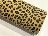 Mustard Leopard Faux Leather Fabric
