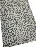 Dark Grey Leopard Faux Leather Fabric
