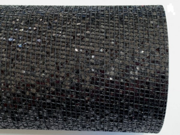 Black Mesh Glitter Grid Stitch Fabric Sheet