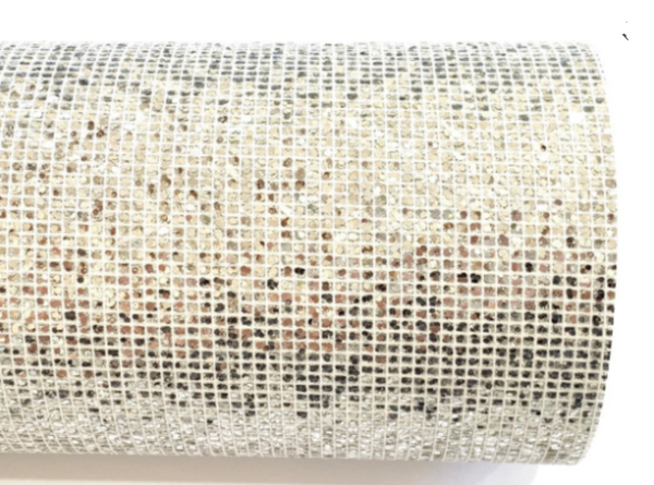 Silver Glitter Grid Stitch Fabric Sheet