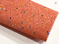 Coral Pink Chunky Glitter Celebration Confetti Canvas