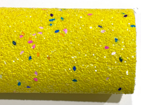 Bright Yellow Celebration Chunky Glitter Confetti Canvas