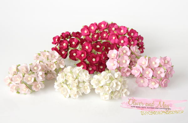 Bulk 100 Pack - Mulberry Paper Flowers - 1-2cm Cherry Blossoms - Shades of Pink