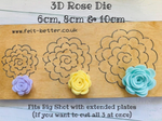 PRE ORDER - Trio of Roses Steel Rule Die - 3 sizes on one die - from Felt Better UK