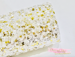 Glam Ice Chunky Glitter Fabric - White and Gold