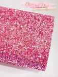 Pink Heart Chunky Glitter Fabric Sheets