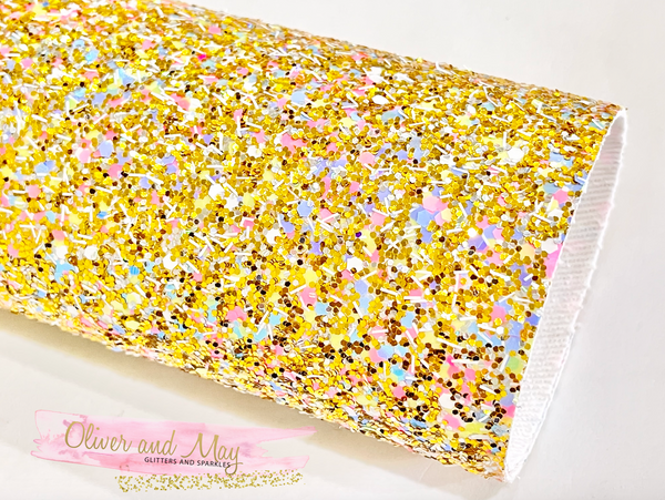 Gold Multicoloured Chunky Glitter Fabric Sheets