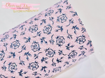 Lilac Rose Chunky Glitter Fabric - Matte Lilac Pink with Navy Rose Print