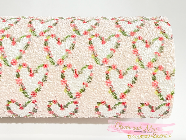 Floral Heart Baby Pink Chunky Glitter Fabric Sheet