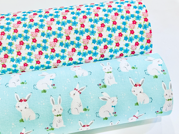 Winifred Rose Fabric Felt - Light Blue Bunny and Coordinating Petite Floral - Limited Stock