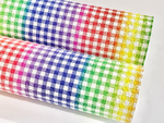 Bright Rainbow Plaid Matte Chunky Glitter Fabric
