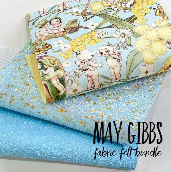 May Gibbs 3 Sheet Bundle - Pale Blue Gossiping Gumnuts Fabric Felt -  Backed in Merino Pure Wool Felt with 2 Coordinating Glitters