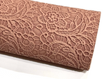 Chocolate  Floral Lace Embossed Faux Leatherette