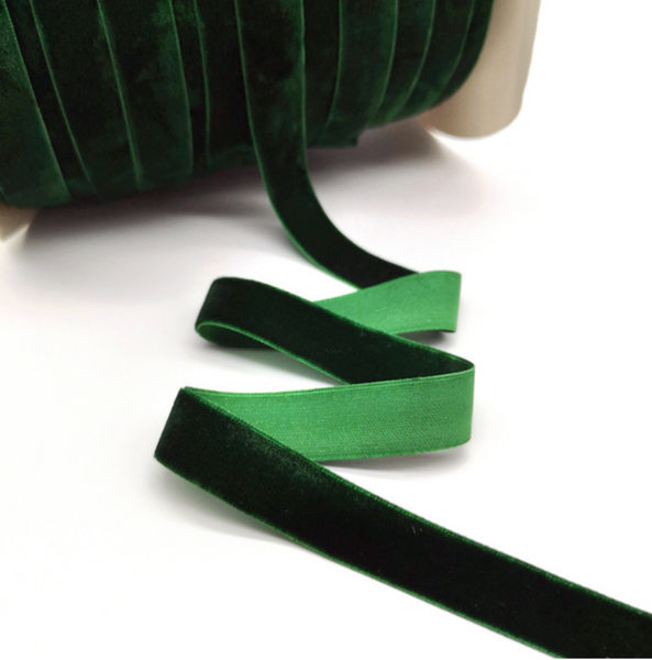 Velvet Ribbon - 25mm - Emerald - 3 yard lot.