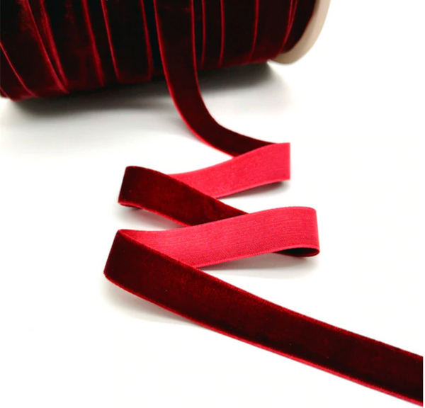 Velvet Ribbon - 25mm - Wine Red - 3 yard lot.