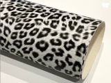Black White Leopard Print 0.8mm Faux Leather Fabric