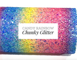 Candy Rainbow Bright Rainbow Chunky Glitter Fabric