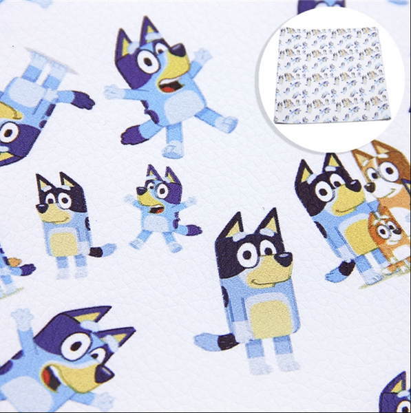 Bluey Dog Character A4 Faux Leather sheet - WHITE