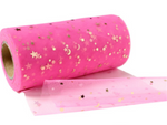 Rose Pink with Gold Sequin Stars Glitter Tulle 15cm x 5 Yard LOT
