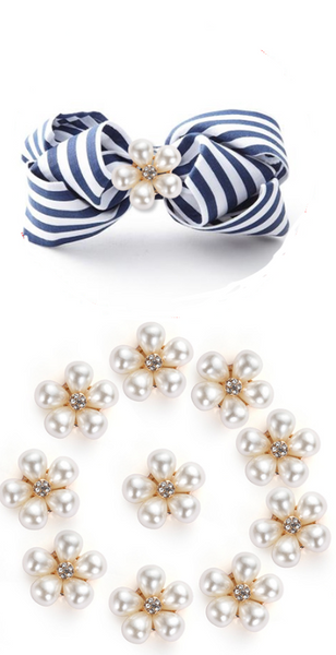 5 x Pearl Cabouchon Bow Centres