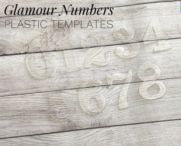 "GLAMOUR Numbers Trace and Cut Plastic Templates - 9 Piece 3cm 1.18"" numbers"