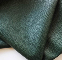 British Racing Green Leatherette Sheet 0.7mm A4 8X11, A5 Size Green Faux Leather Fabric Big Lychee Pattern PU Leather Thin Leatherette