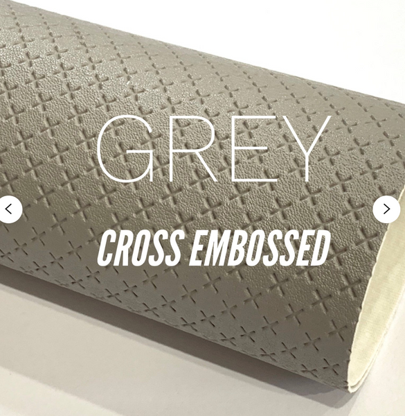 Grey Cross Embossed Faux Leatherette A4 sheets