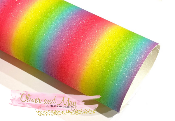 Bright  Rainbow Fine Glitter Fabric 20cm x 34cm sheet