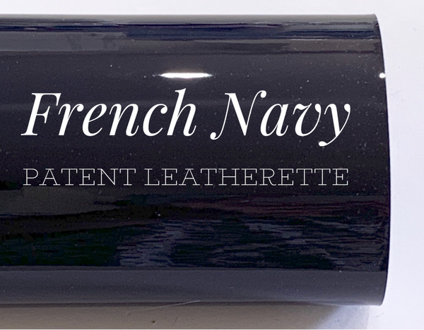 A3 Size French Navy Patent Leather - Glossy Mirror Smooth PU Leatherette for Purses, Clutches and Handbags