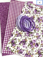 Purple White Floral Leatherette and Glitter Fabric Bundle - 3 A4 Sheets plus Purple Headband Pack