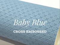 Baby Blue Cross Embossed Faux Leatherette