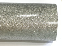 Silver Fine Glitter Effect Smooth Glitter Fabric Sheet Thin 0.75mm