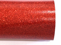 Red Fine Glitter Effect Smooth Glitter Fabric Sheet Thin 0.6mm