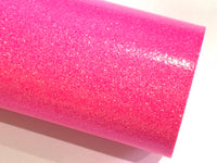 Hot Pink Fine Glitter Effect Smooth Glitter Fabric Sheet Thin 0.6mm