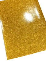Gold Fine Glitter Effect Smooth Glitter Fabric Sheet Thin 0.6mm