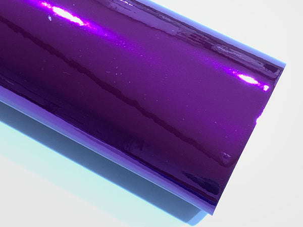 Purple Patent Mirrored Leatherette 0.8mm Thickness Mirror Purple Glossy Leather A4 sheet