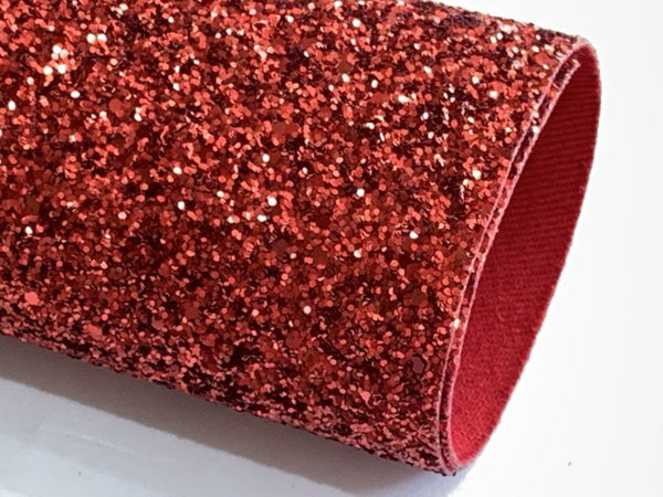 Christmas Red or Green Matching Back Chunky Glitter Canvas Fabric