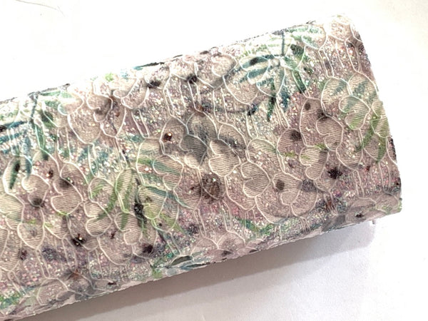 Summer Palm Floral Glitter Lace Fabric Sheet A4 - Glitter in Greys and Greens