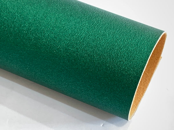 Metallic Green Smooth Faux Leatherette Fabric 1.2mm thick