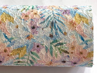 Summer Palm Floral Glitter Lace Fabric Sheet A4 - Glitter Aqua and Yellow